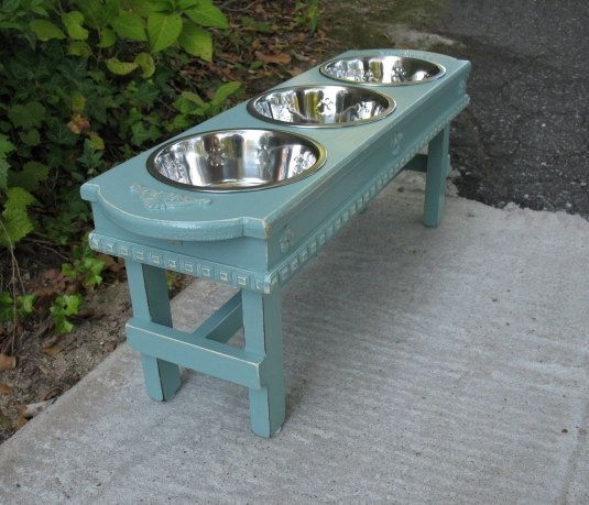 Large Dog Bowl Pet Feeder Celadon 3 Three by countrymanspetfeeder. Large dogs should always eat on their level. Always. Would love this for mine one day. Beats putting their bowls on chairs