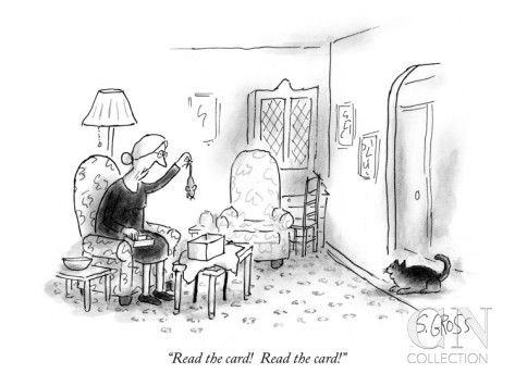"""Read the card! Read the card!"" - New Yorker Cartoon Poster Print by Sam Gross at the Condé Nast Collection"
