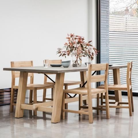 Hudson Living Chilson Oak Trestle Dining Table Is A Striking Combination Of Solid French With Concrete Resin Top