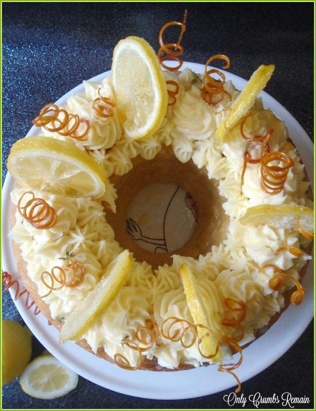 Lemon & Thyme Savarin Cake with White Chocolate & Mascapone Frosting, Lemon & Thyme Curd, Candid Lemon Slices and Spun Sugar Spirals