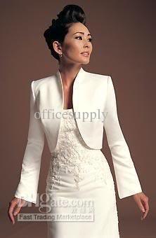 Wholesale Bridal Wraps & Jackets - Buy Ivory Satin Bridal Jacket Winter Coat with Long Sleeves, $29.87 | DHgate