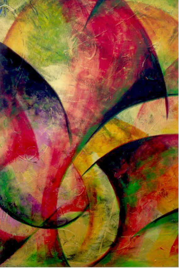 Original pintura abstracta acrílico danza de los por VintageChambre