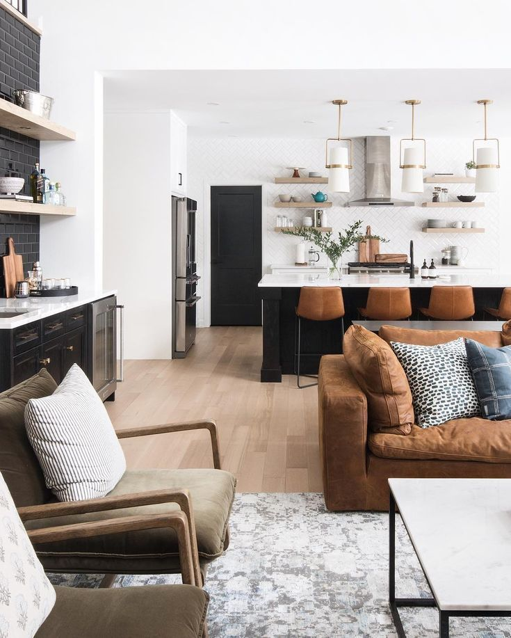 Kitchen Design Inspiration Modern Kitchen With Brass Pendants Navy Cabinets Navy Kitchen Is Living Room Decor Modern Neutral Living Room Trendy Living Rooms