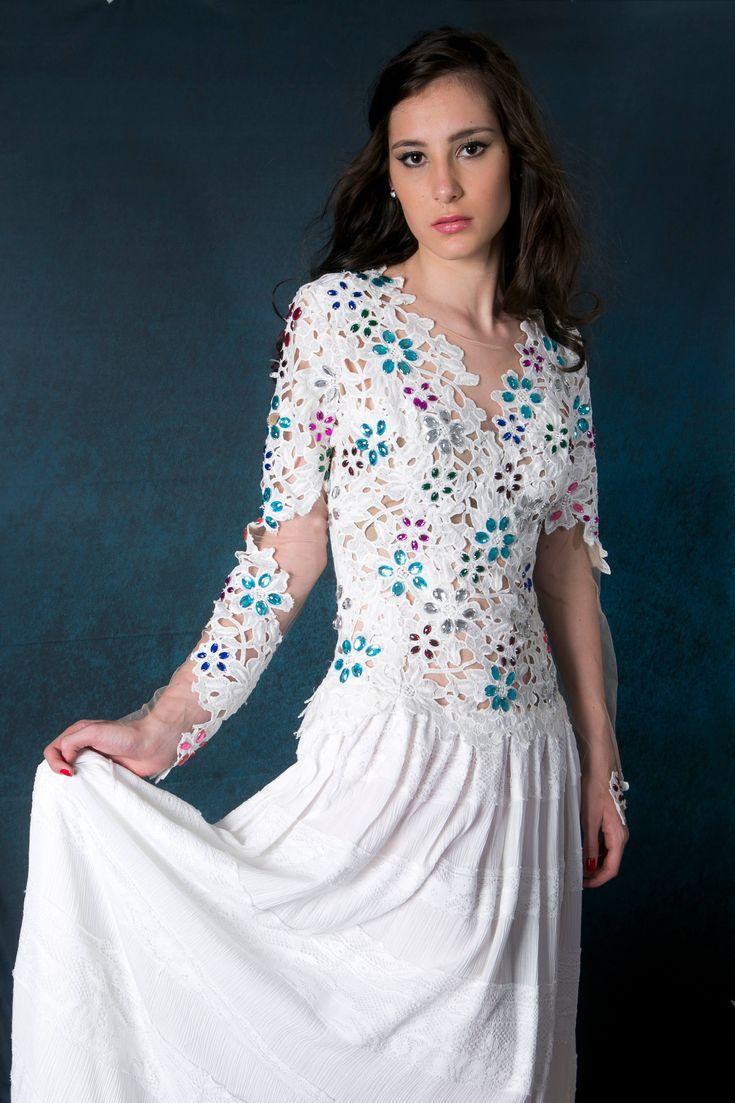 Vestido curto manga longa decote V, Olimpia - Ana Violeta