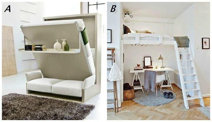 PICK ONE: A) Murphy bed, or B) Loft bed?  Both bed designs offer more floor space, but which would you prefer to have in your bedroom? (Photos from bobvila.com and bloglovin.com)