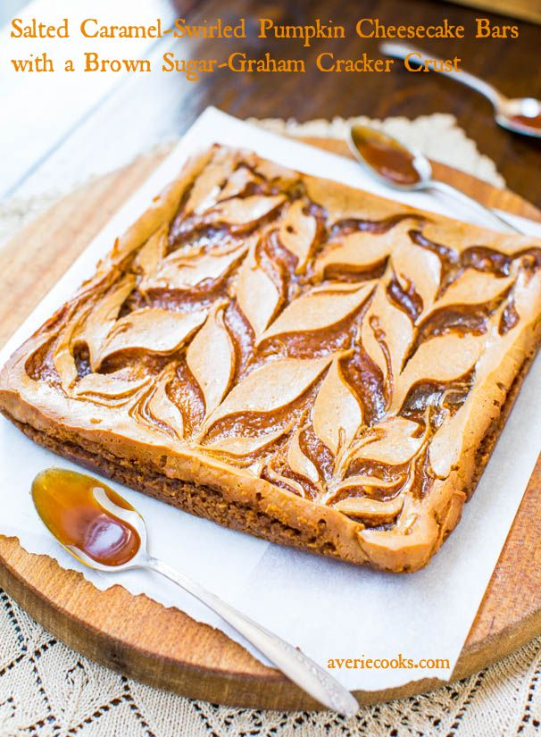 Salted Caramel Swirled-Pumpkin Cheesecake Bars with Brown Sugar-Graham Cracker Crust - Creamy, salty & sweet, & flooded with caramel! - Easy recipe at averiecooks.com