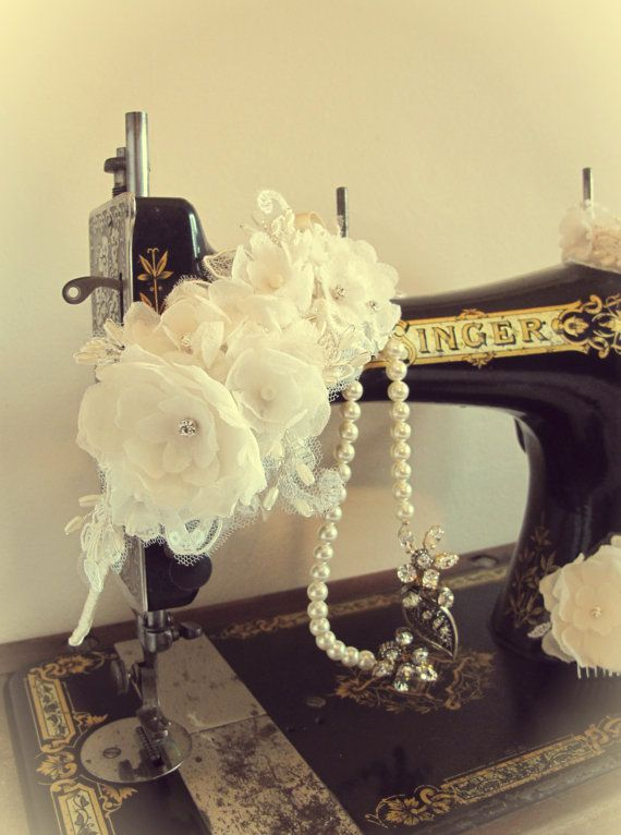 Bridal handmade lace and silk flower wedding headband £85 by LucyFisherDesigns