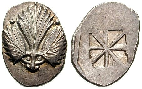 Ancient coin of Selinunte depicting a wild celery leaf.