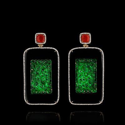 Brincos Placa de Jade Verde e Ônix - Silvia Furmanovich