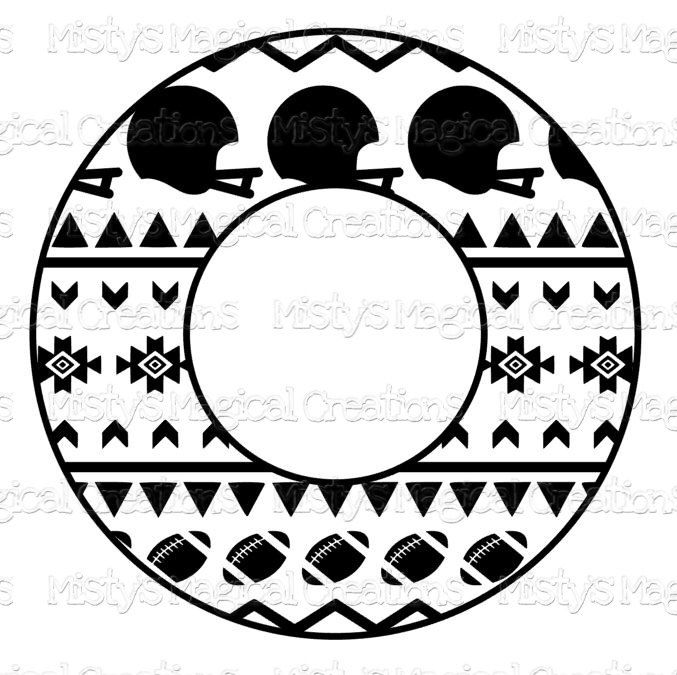 Football Aztec Circle Monogram - SVG File - INSTANT DOWNLOAD by