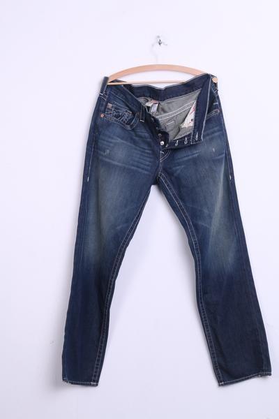 True Religion Mens 36 Trousers Jeans Denim Cotton USA Dark Blue - RetrospectClothes