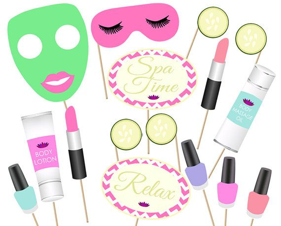 Spa Day party Photo booth Props Printable  Instant by aliciapatios