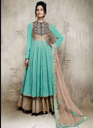 Aqua Color Opulent Designer Lehenga Suit With Gorgeous Embroidery Work For Wedding Occasions