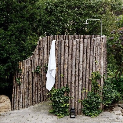 Shower in the backyard #natural #wood #shower