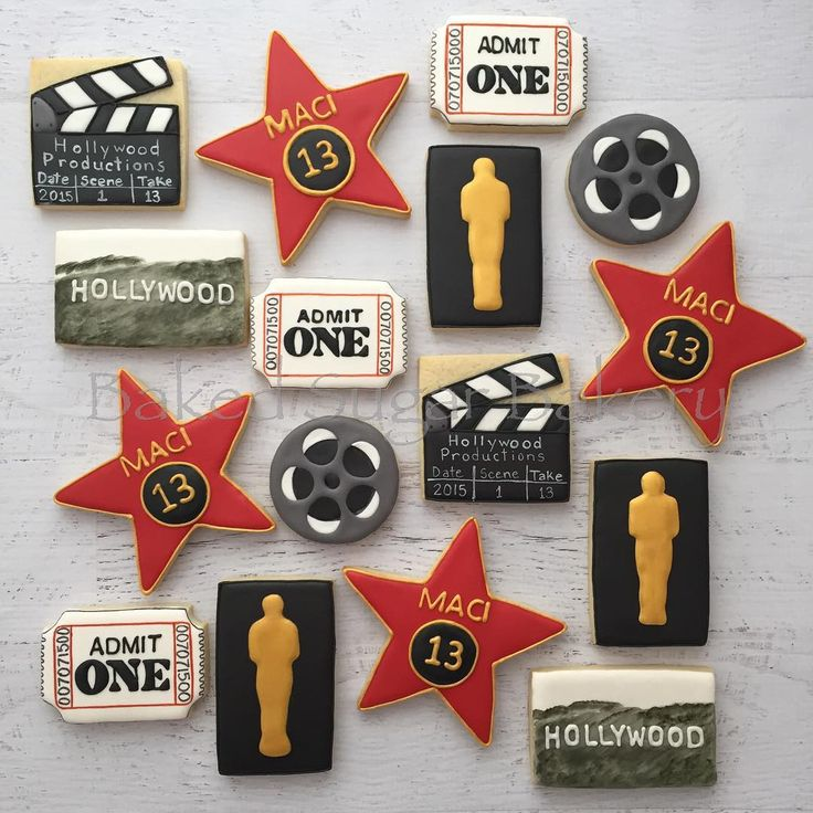 Fun Hollywood themed birthday. #customcookies... - Baked Sugar Bakery
