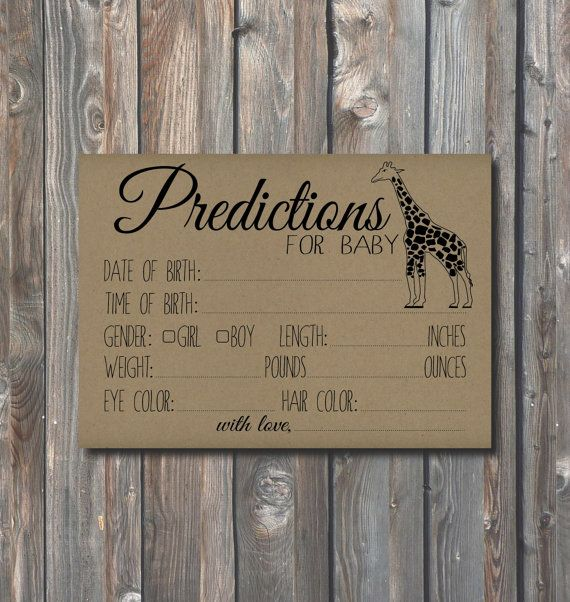 Baby Shower Prediction Card-PRINTABLE Baby Shower Game Activity Card-Baby Statistics Card-Printable Rustic Kraft Card-Instant Download-PR03