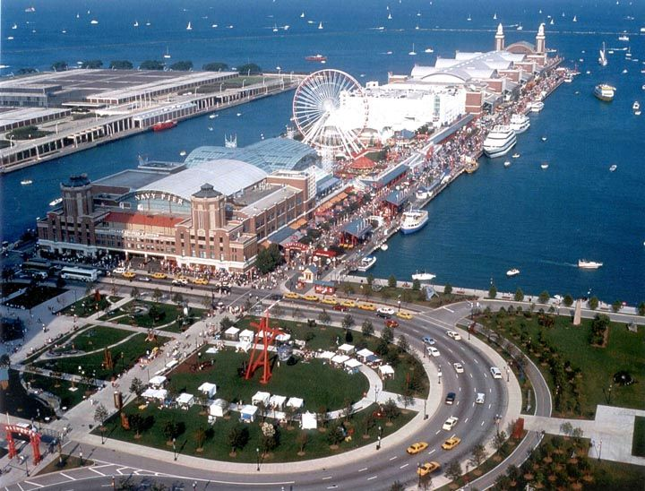 Navy Pier is a 3,300-foot-long (1,010 m) pier on the Chicago shoreline of Lake Michigan. It is located in the Streeterville neighborhood of the Near North Side community area. Originally known as the Municipal Pier no. 2. Construction started May 1914 and in 1916 it was opened to the public. At the time it was the world's largest pier, 292 ft wide and 3000ft long. navy pier consist many attractions, restaurants, cruises, and tours. #travel #attractions #destination #navypier #chicago #pier…
