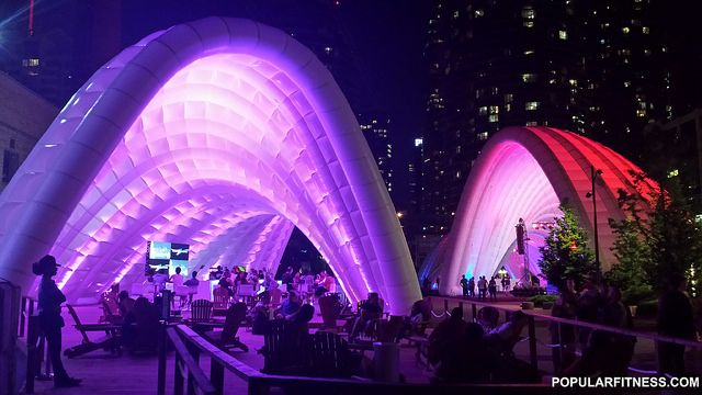 Pan Am Games in Toronto at Harbourfront. Tube-like structures at night.
