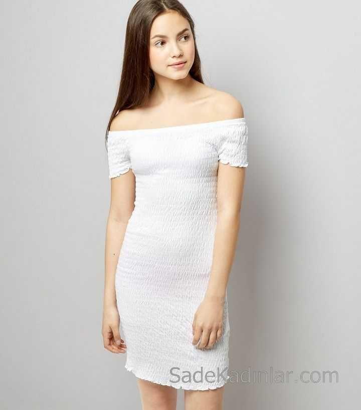 2020 Cocuk Abiye Elbise Beyaz Omzu Acik Dusuk Kol Sade Ve Sik Kiz Cocuk Elbise Mini Elbiseler The Dress Aksamustu Giysileri