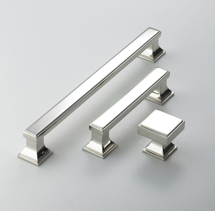 Stainless steel door handles and knobs. Made by Armac Martin, used by Bath Bespoke.