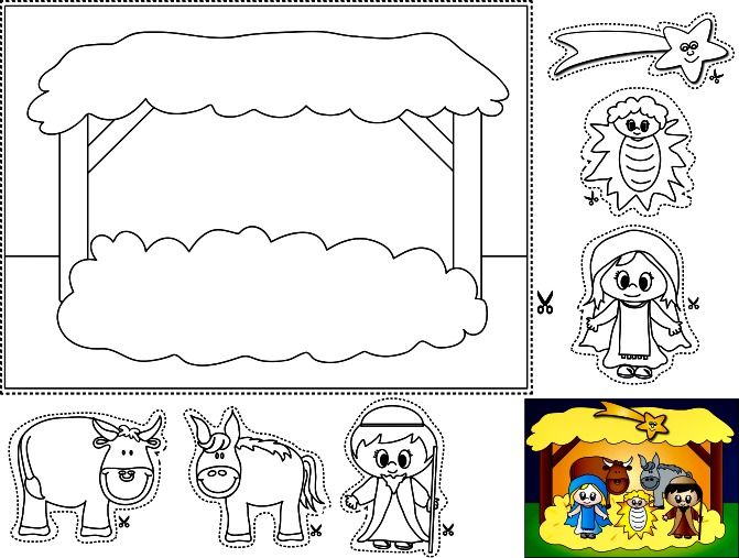mortimers christmas manger coloring pages - photo#6