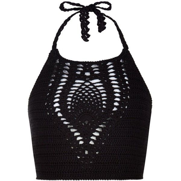 New Look Petite Black Crochet Halter Neck Crop Top ($21) ❤ liked on Polyvore featuring tops, crop top, black, cocktail tops, halter-neck tops, special occasion tops, halter neck tops and petite tops