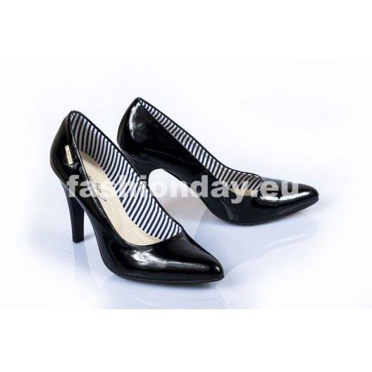 Dámske kožené lodičky čierne DT235 - fashionday.eu