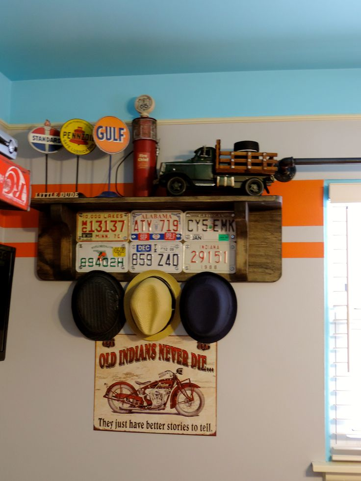 Baby Boy nursery.  Vintage car. For of Baby Perez's hat collection this would be perfect!!!