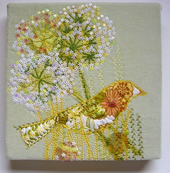 Yellowhammer Bird Original Embroidered Textile by nickyperryman, £100.00