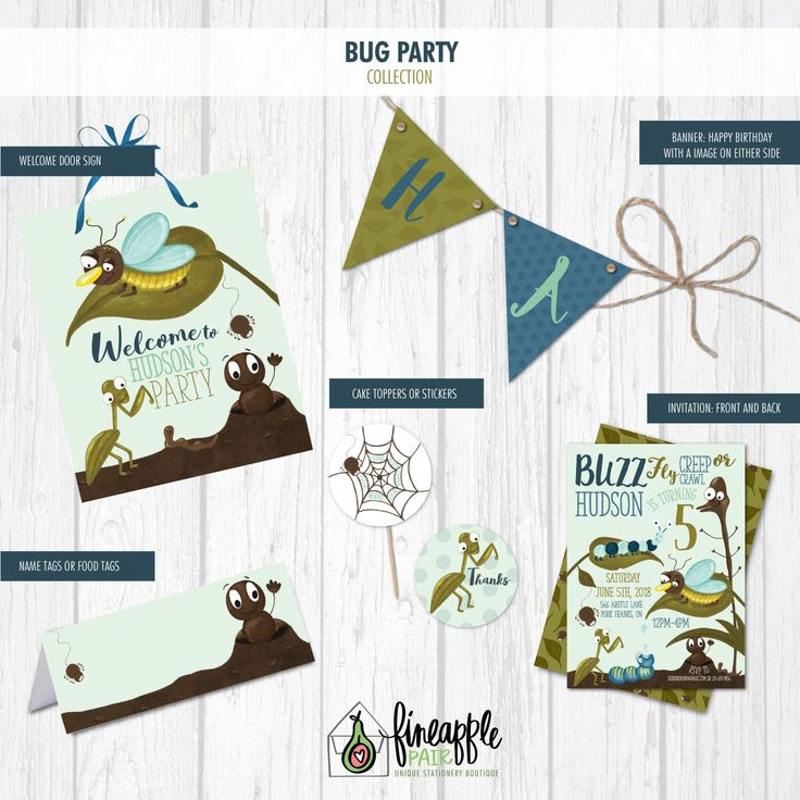 Bug Birthday Invite, Bug Birthday Invitation, Bug Boy Birthday, Bug Party Package, Bug Birthday Printable, Bug Download, Insect by FineapplePair on Etsy