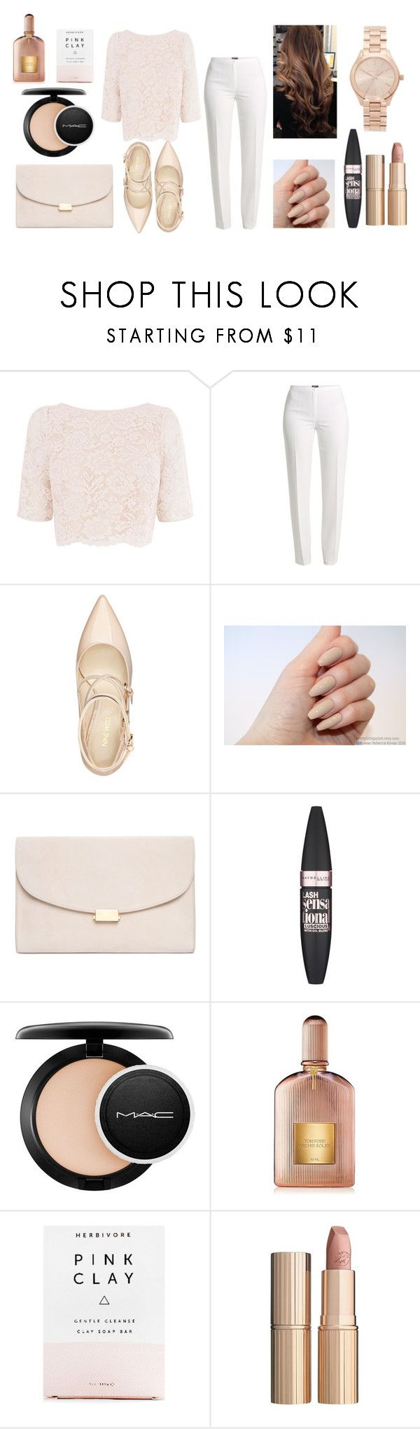 """Pink Clay"" by nikkiemery ❤ liked on Polyvore featuring Coast, Basler, Nine West, Mansur Gavriel, Maybelline, MAC Cosmetics, Tom Ford, Herbivore, Charlotte Tilbury and Michael Kors"