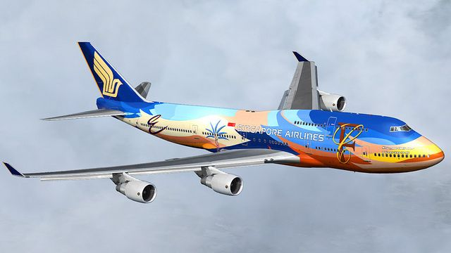 Singapore Airlines Boeing B747-412 Tropical Megatop