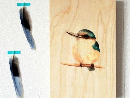 'Kotare' a print on beech wood by ellaquaint