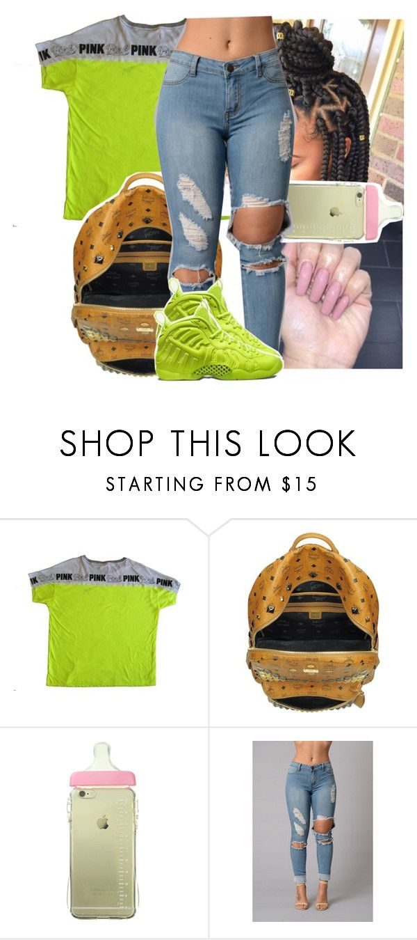 """Robin jeans wit the foam posites ‼"" by theyknowtyy ❤ liked on Polyvore featuring Victoria's Secret, MCM and NIKE"