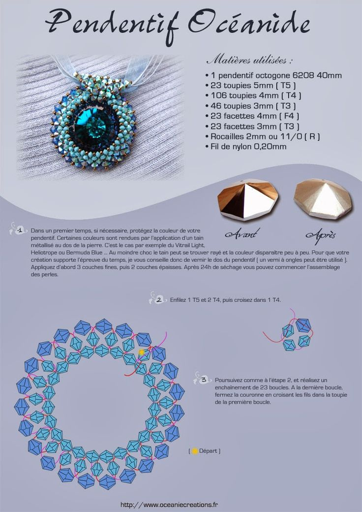 Tutorial:   http://www.oceaniecreations.fr/blog/schema-bijoux-perles-medaillon-oceanide-octogone-6208/   Készítette:   Oceaniecreati...