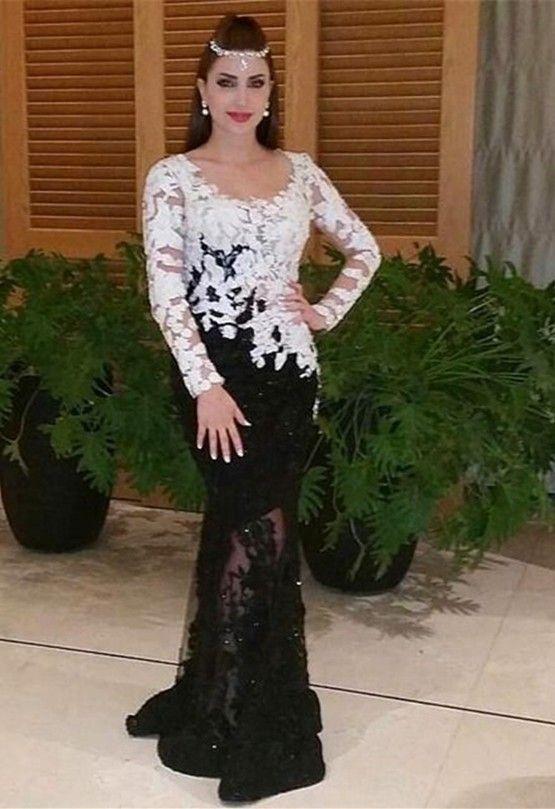 Schwarz Weißes Abendkleider lang Ärmel Spitze 139€ nachmäßig anfertigen