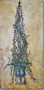 Ivy Topiary painted on hanging canvas. Joint compound was tinted and troweled on to canvas for 'fresco' look.