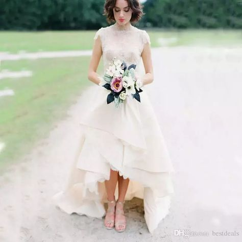 High Low Hem Lace Wedding Dresses Top Lace High Neck Cap Sleeves Bridal Wedding Gown Front Short Back Long Garden Wedding Dress 1