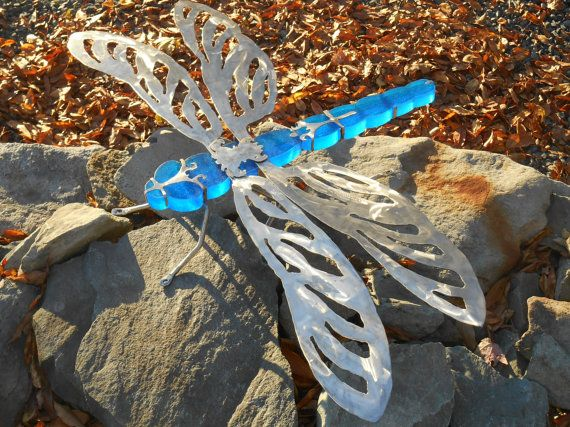 Large Dragonfly Outdoor Decor Stained Glass And Stainless Steel DragonFly Sculpture Lawn