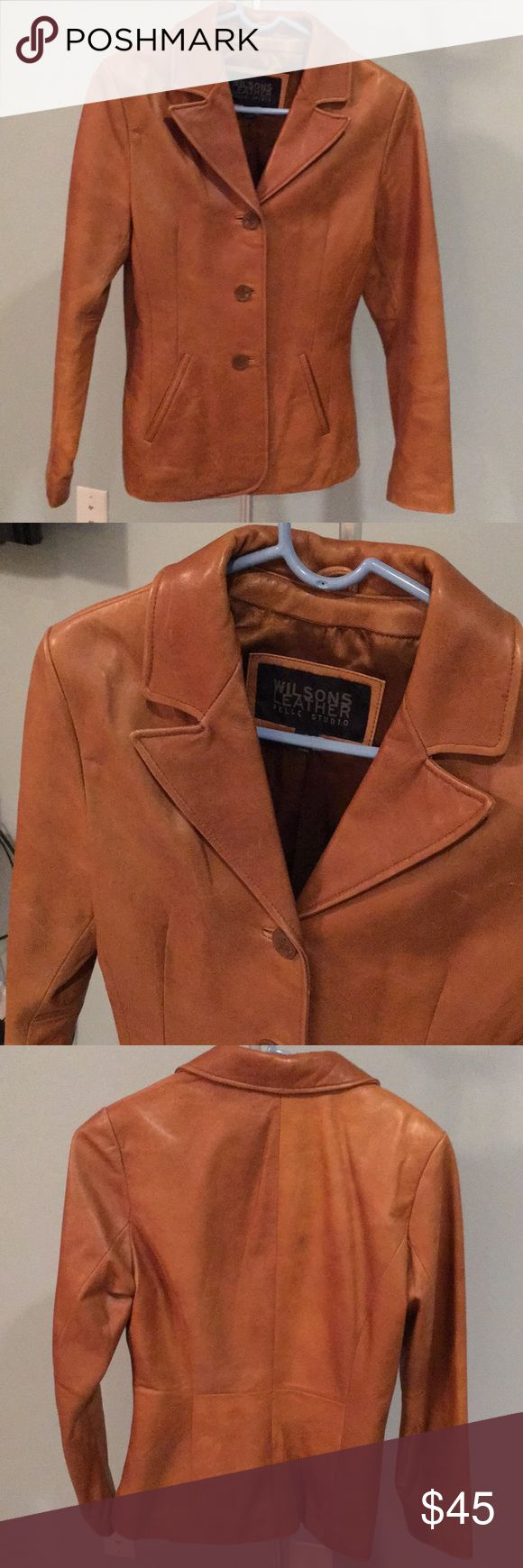 Camel leather blazer/ coat Wilson's leather camel colored 3 button blazer. Sturdy, fashionable! Wilsons Leather Jackets & Coats