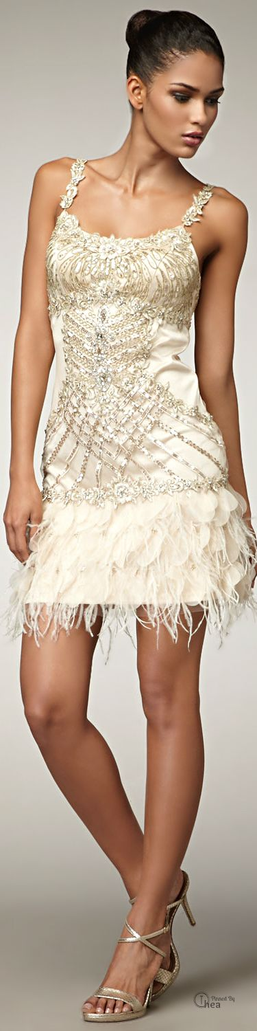 Super hot bachelorette or reception dress! Sue Wong ● Feather Hem Party/Cocktail Dress