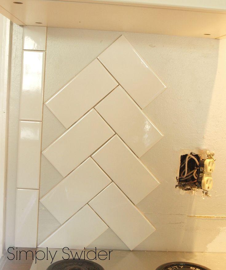 Subway Tile Back Splash in a Herringbone Pattern | Simply Swider