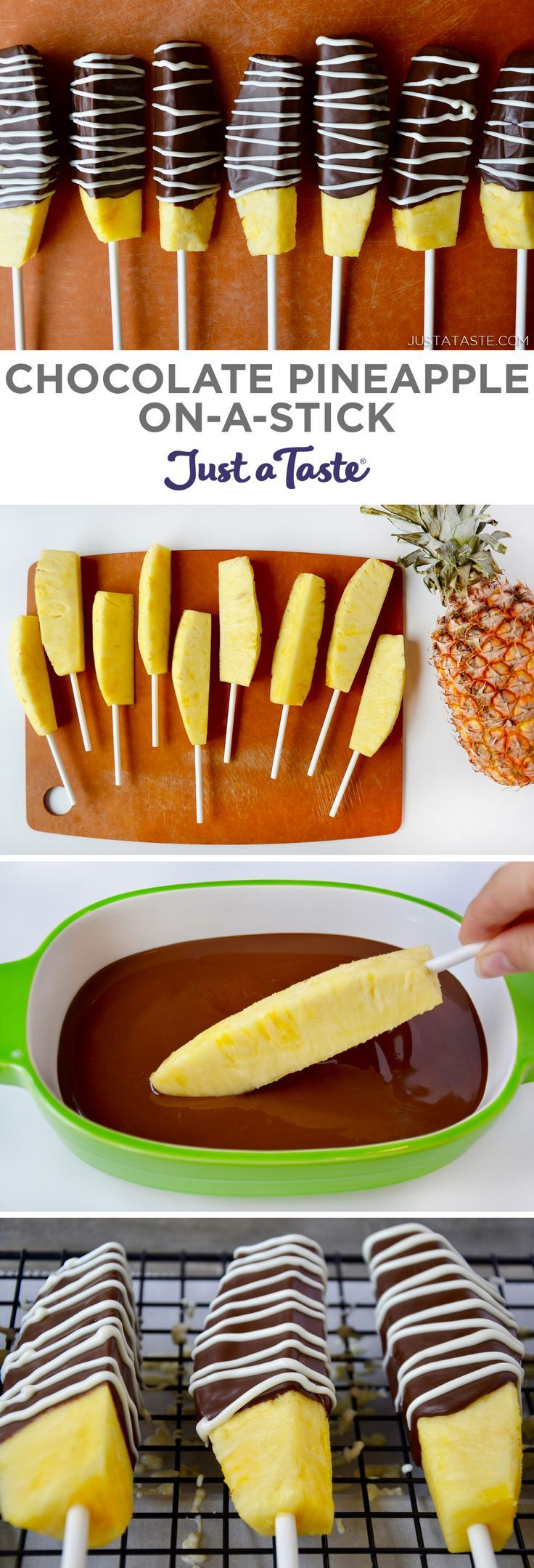 Chocolate Pineapple On-a-Stick recipe from justataste.com #recipe #summer #fruit