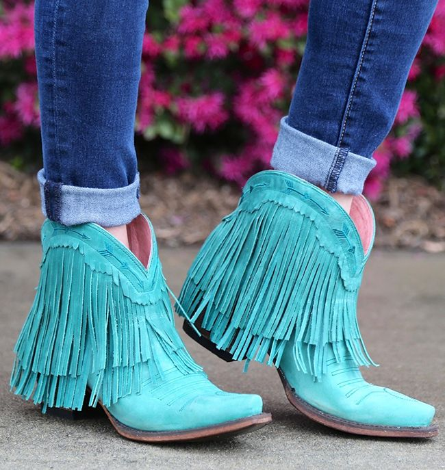 Spitfire turquoise fringe boots by Junk Gypsy