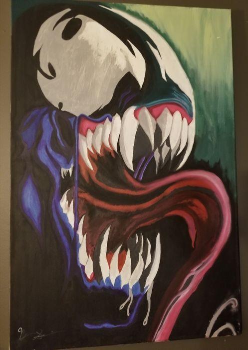 Catawiki online auction house: Original Painted Canvas - Spiderman : Venom - 3'x2' - Signed