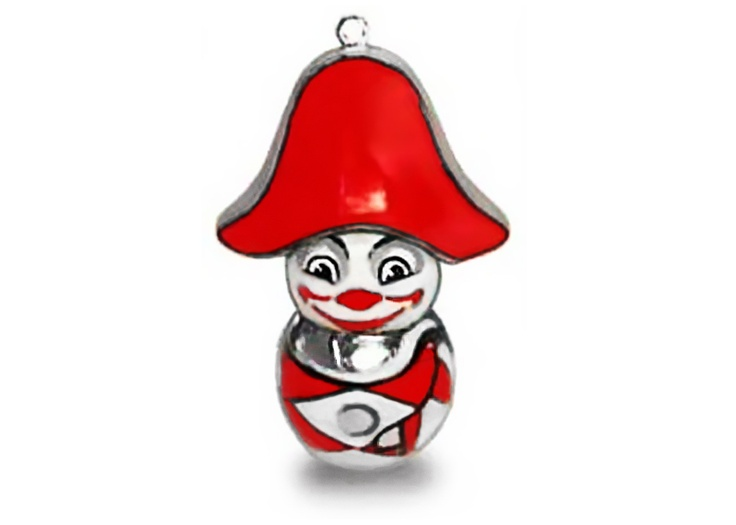 Silver pendant of Burlamacco, the official Viareggio's Carnival mask first depicted in 1931 by Uberto Bonetti (Futurist painter and graphic artist).   This pendant is a special one made on commission but you can find the entire standard collection on JOKINORO web site: http://www.jokinoro.it