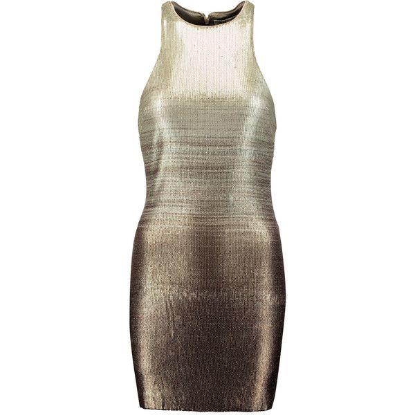 Halston Heritage Ombré metallic sequined crepe mini dress ($210) ❤ liked on Polyvore featuring dresses, gold, brown dress, short ombre dress, metallic sequin dress, short dresses and ombre dress