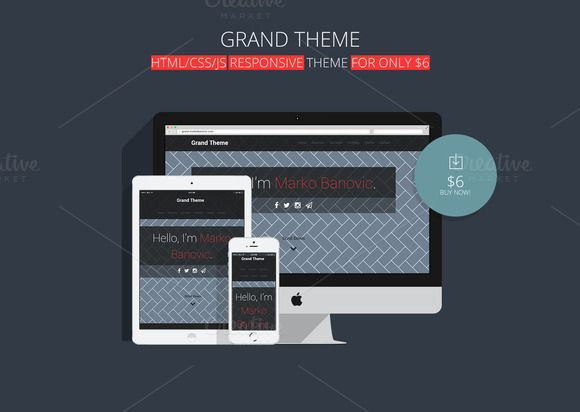 Check out Grand Theme / Responsive Design by Marko Banović on Creative Market