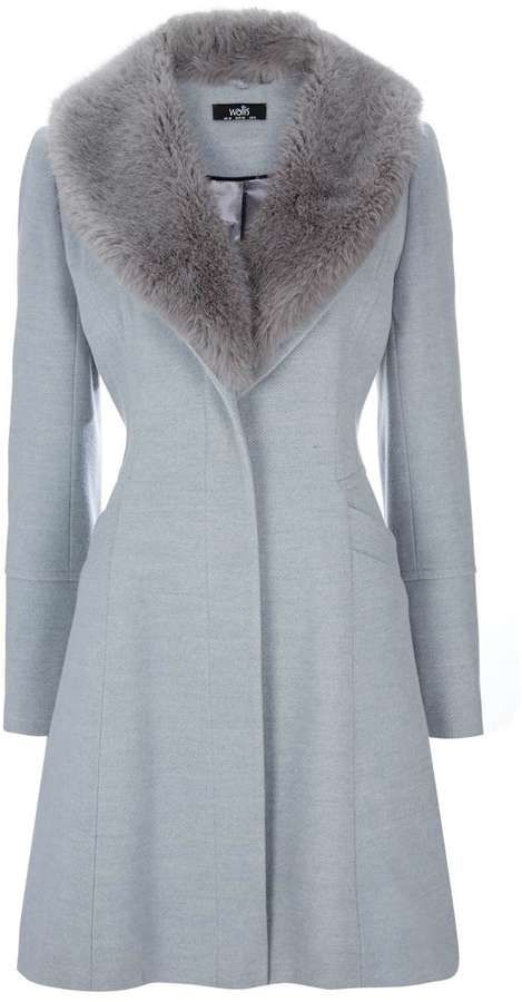 Petite Grey Fit And Flare Coat