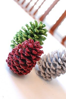 glittered pinecones  These would be pretty with a bunch in a big glass vase or bowl